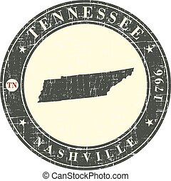 Vintage stamp with map of Tennessee