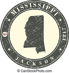Vintage stamp with map of Mississippi