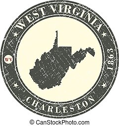 Vintage stamp with map of West Virginia