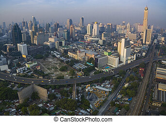 aerial view of bangkok thailand capital skyline in heart of...