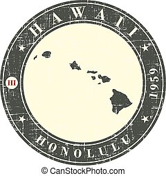 Vintage stamp with map of  Hawaii.
