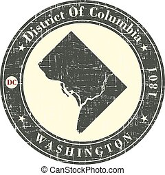 Vintage stamp with map of District of Columbia. Stylized...