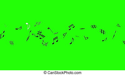 Black Musical Notes On Green Chroma Key