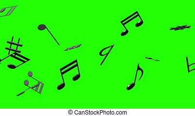 Black Musical Notes On Green Chroma Key - Loop able 3DCG...