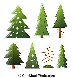 Collection different cartoon green and dead fir trees. -...