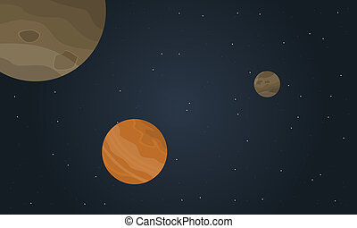 Outer space planet with stars landscape