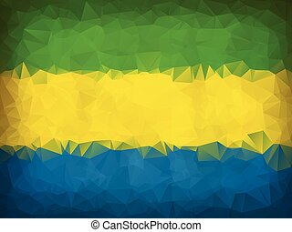 Gabon flag low polygon background