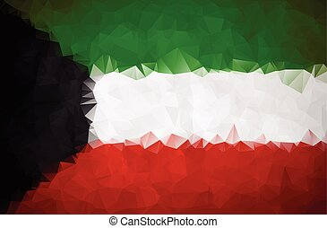 Kuwait flag triangular polygonal background