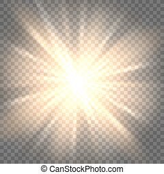 Sun rays on transparent background - Sunburst icon. Sun rays...