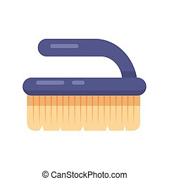 Cleaning service. Flat brush fetlock vector icon logo illustration. Household equipment tool isolated on white background