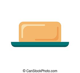 Flat soap with dish isolated on white background, icon logo vector illustration. Clean object, household equipment tool. Cleaning service, housekeeping cleanness