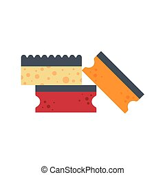 Sponge flat icon logo vector illustration isolated on white background. Clean object, household equipment tool. Cleaning service, housekeeping cleanness.