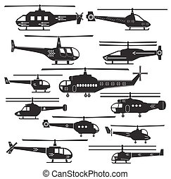 Set icons of helicopters isolated on white