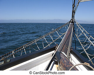 Bowsprit of Schooner - City of Oxnard coast as seen from the...