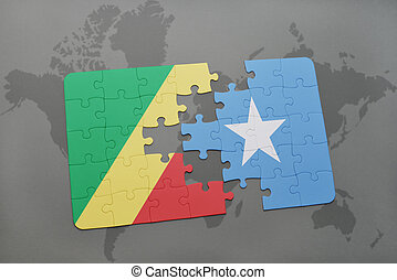 puzzle with the national flag of republic of the congo and...