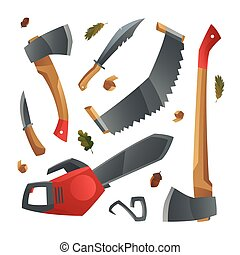 Lumberjack tools different axes, knifes and saws