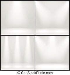 Empty white interior, photo studio room with lamps vector backgrounds set