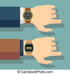 Businessmans hand with wrist watch. Save time, punctuality...