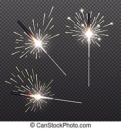 Closeup isolated sparkler shine bengal lights for holiday...