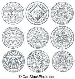 Occult, mystic, spiritual, esoteric vector symbols....