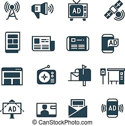 Advertisement on screen, advertising television, outdoor ad, online ads vector icons