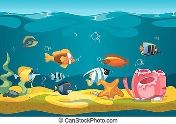 Underwater sea with fishes and rocks vector background for...
