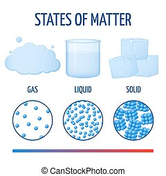 Fundamentals states of matter with molecules vector...