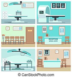 Empty hospital, doctor office, surgery room, clinic vector...