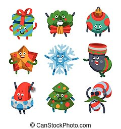Emoticons set icons for happy new year theme