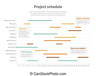 Project plan schedule chart with timeline, gantt progress...