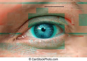 Blue female eye with digital glitch effect, modern...