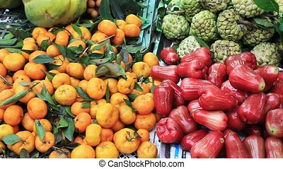 Tropical fruits for sale in the Vietnamese market