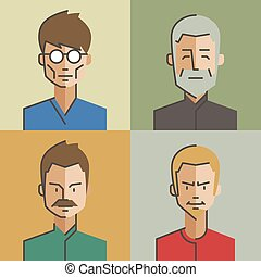 Male and female character faces avatars. Flat style with...