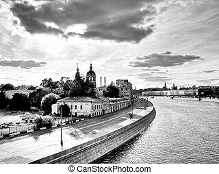 cidade, Moscou, noite, vista, ponte
