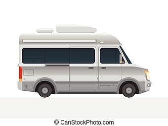 Modern small size camper van motor home. Camping RV travel...