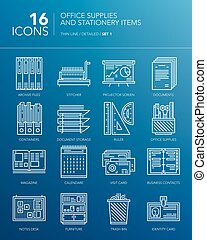 Detailed icons for business. Office supplies and stationery...