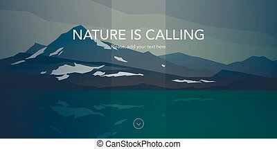 Cold mountains and calm sea water landscape. Nature is...