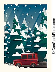 Off-road vehicle adventure in the winter forest. Vector...