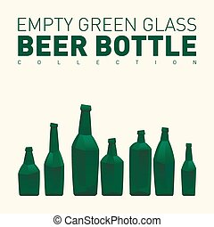 Empty green glass beer bottle collection. Vector...
