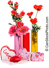 Valentine's day - Flowers in vases, red heart candle,...