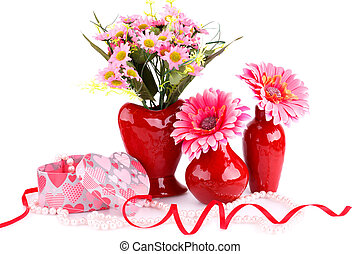 Valentine's day - Flowers in vases, necklace, gift box and...