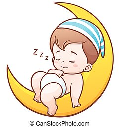 Baby - Vector Illustration of Cartoon Cute Baby Sleeping on...