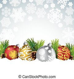 Christmas balls with fir and pine cone on the snow