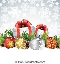 Christmas balls with gift, fir and pine cone on the snow -...
