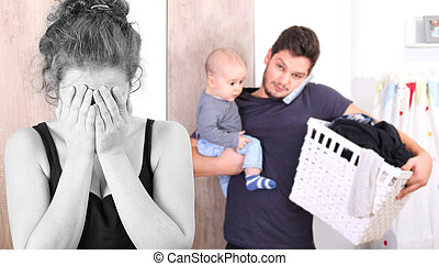 Young mother suffering from postpartum depression