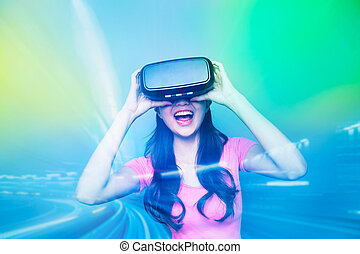 Happy woman watching virtual reality - Double exposure of...
