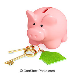 Piggy bank and keys - over white
