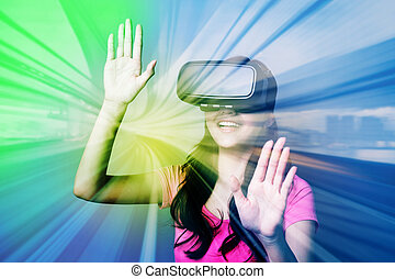 woman using VR headset glasses - Double exposure of happy...