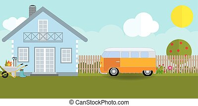 House in nature with apple trees, cars, flowers, garden tools. Vector Illustration.