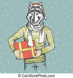 Husky vector illustration - Christmas vector dog concept....